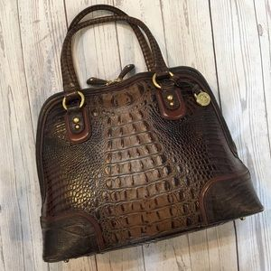 BRAHMIN Croc Embossed Leather Satchel Handbag